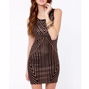 Mink Pink Vanishing Point Dress - Black & Gold